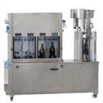 Embotelladora isobárica semiautomática con chapadora – Doble pre-evacuación – Ruedas